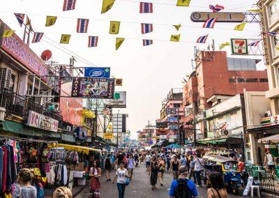 Khaosan Road in Bangkok in Thailand